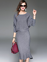 YHSPWomen's Going out Casual/Daily Simple Street chic Sophisticated Fall Winter T-shirt Skirt SuitsSolid Round Neck  Sleeve Micro-elastic