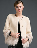 Для женщин На выход На каждый день Осень Зима Пальто с мехом Круглый вырез,Простой Контрастных цветов Обычная Длинный рукав,Искусственный