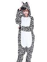 kigurumi Pyjamas Zébré Fête / Célébration Pyjamas Animale Halloween Mode A Rayures Brodée Flanelle Costumes de Cosplay Kigurumi Pour