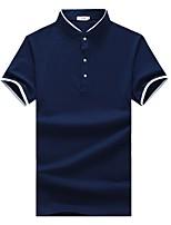Для мужчин На каждый день Большие размеры Лето Polo Воротник-стойка,Простое Однотонный С короткими рукавами,Хлопок Спандекс,Средняя