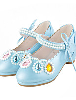Girls' Flats Comfort Novelty Flower Girl Shoes Fall Winter Leatherette Casual Dress Crystal Flat Heel Blushing Pink Blue White Flat