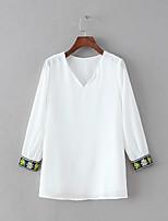 Для женщин На выход На каждый день Весна Осень Блуза V-образный вырез,Секси Простое Уличный стиль Однотонный Вышивка Длинный рукав,Хлопок