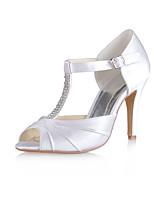 Feminino Sapatos De Casamento Plataforma Básica Cetim com Stretch Verão Casamento Festas & Noite Cristais Fru-Fru Salto Agulha Branco7,5