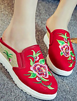 Women's Shoes Fabric Summer Comfort Slippers & Flip-Flops For Casual Black Red Green
