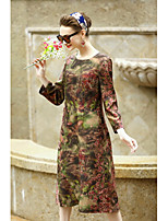 REVIENNE BAY Women's Casual/Daily Chinoiserie Loose DressFloral Round Neck Midi Long Sleeve Rayon Others Spring Summer Mid Rise Micro-elastic Medium