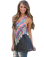Women's Holiday Going out Casual/Daily Club Sexy Summer Tank Top,Print U Neck Sleeveless Polyester Spandex Medium