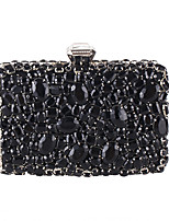 Women Bags All Seasons Polyester Evening Bag with Crystal Sparkling Glitter for Wedding Event/Party Formal Black Silver