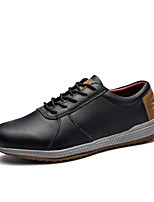 Men's Oxfords Comfort Spring Fall Leather Casual Office & Career Lace-up Flat Heel Black Flat