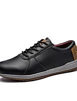 Для мужчин Туфли на шнуровке Удобная обувь Весна Осень Кожа Повседневные Шнуровка На плоской подошве Черный На плоской подошве