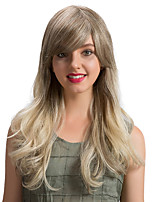 Romantic Oblique Fringe Ombre Color Long   Human Hair Wigs