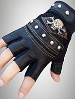 Men's PU Wrist Length Half Finger Soak Off Outdoor Sports Solid Rivet Skull Spring/Fall Summer Bike Cycling Leather Gloves Black