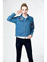 Feminino Jaqueta jeans Para Noite Casual Simples Outono Inverno,Sólido Padrão Algodão Outros Colarinho de Camisa Manga Longa Bordado