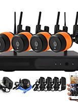 Yanse® 4ch беспроводные nvr комплекты 960p hd ir ночного видения водонепроницаемая wifi ip камера cctv система с кронштейном