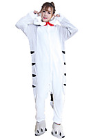 Kigurumi Pajamas Cheese Cat Onesie Shoes Festival/Holiday Animal Sleepwear Halloween Fashion Embroidered Flannel FabricCosplay Costumes With Shoes