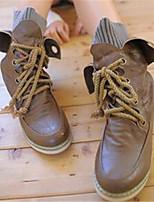 Для женщин Ботинки Удобная обувь Осень Полиуретан Повседневные Черный Коричневый На плоской подошве