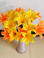 1 Branch Plastic Lilies Tabletop Flower Artificial Flowers Flowers Living Room Bedroom Decoration Pastoral Style Wedding Supplies 9 Head