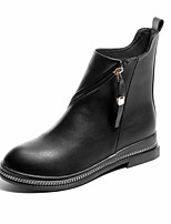 Women's Boots Combat Boots Formal Shoes Fall PU Walking Shoes Casual Dress Party & Evening Zipper Low Heel Black 1in-1 3/4in
