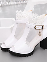 Women's Heels Basic Pump Spring Fall Real Leather PU Casual White Black 4in-4 3/4in
