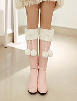 Feminino Sapatos Pele Nobuck Couro Ecológico Outono Inverno Conforto Botas Para Casual Branco Rosa Claro