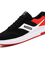 Для мужчин Кеды Удобная обувь Тюль Весна Осень Повседневные Шнуровка На плоской подошве Черный Черный/Красный На плоской подошве