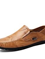 Для мужчин Мокасины и Свитер Удобная обувь Лето Осень Кожа Повседневные Комбинация материалов На плоской подошве Черный Желтый Красный На