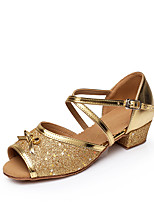 Women's Latin Sparkling Glitter Paillette Flats Sandals Indoor Buckle Sparkling Glitter Splicing Color Block Paillettes Low Heel Gold