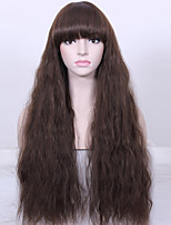 Natural Long Curly Wig High Temperature Fiber Women Brown Wig Synthetic Hair Wig