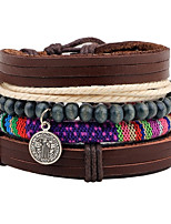 Men's Leather Bracelet Strand Bracelet Wrap Bracelet Adjustable Personalized Leather Wood Round Jewelry For Gift Stage Christmas Club