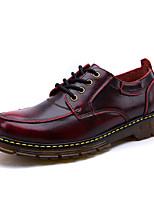 Для мужчин Туфли на шнуровке Удобная обувь Осень Зима Кожа Повседневные Шнуровка На плоской подошве Черный Коричневый Винный На плоской