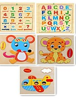 Small wooden fruit English digital cartoon animals jigsaw puzzle toys (5 different packaging graphics random delivery)