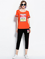 MEIDONGTAI Women's Casual/Daily Simple Summer T-shirt Pant SuitsSolid Print Round Neck Short Sleeve Micro-elastic