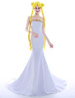 Disfraces de Cosplay Pelucas de Cosplay Ropa de Fiesta Baile de Máscaras Princesas Reina Cosplay de películas  Blanco Amarillo Vestido