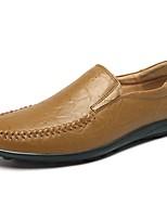 Men's Loafers & Slip-Ons Comfort Spring Fall PU Casual Ruched Flat Heel Dark Brown Brown Yellow Dark Blue Black Flat