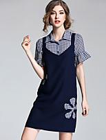 MEIDONGTAI  Women's Going out Simple Summer T-shirt Pant SuitsPatchwork Shirt Collar Short Sleeve Micro-elastic