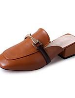 Women's Clogs & Mules Light Soles PU Summer Casual Low Heel Dark Brown Black White Flat