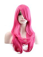 Femme Perruque Synthétique Sans bonnet Long Ondulation Naturelle Rose + Rouge Perruque Naturelle Perruque Déguisement