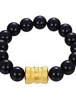 Men's Women's Strand Bracelet Bracelet Obsidian Fashion Vintage Personalized Rock Hypoallergenic Gold Plated Circle Round Ball Jewelry For
