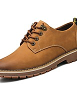 Men's Oxfords Light Soles Spring Fall PU Casual Lace-up Flat Heel Brown Yellow Flat