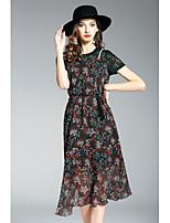 Для женщин На каждый день Оболочка Платье Цветочный принт,Круглый вырез Средней длины С короткими рукавами Полиэстер ЛетоСо стандартной