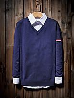 Для мужчин На выход На каждый день Простое Короткий Пуловер Однотонный,V-образный вырез Длинный рукав Хлопок Полиэстер Другое Весна Осень