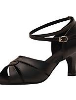 Для женщин Латина Искусственная кожа Сандалии Концертная обувь С пряжкой Кубинский каблук Золотой Черный 2,5 - 4,5 см 5 - 6,8 см