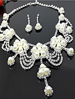 Women's Drop Earrings Necklace Imitation Pearl Rhinestone Multi Layer Alloy Flower For Wedding Party Birthday