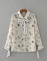 Для женщин На выход На каждый день Весна Осень Блуза Рубашечный воротник,Секси Простое Уличный стиль С принтом Длинный рукав,Шёлк Хлопок,