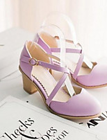 Women's Shoes PU Summer Comfort Heels For Casual Purple Blue Blushing Pink Almond