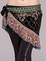 Dança do Ventre Lenços de Quadril para Dança do Ventre Mulheres Apresentação Poliéster Metal Pérolas Sintéticas Corrente 1 PeçaXale de