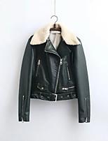 Для женщин На выход На каждый день Осень Зима Кожаные куртки Рубашечный воротник,Простой Уличный стиль Однотонный Обычная Длинный рукав,