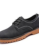 Для мужчин Туфли на шнуровке Для прогулок Удобная обувь Коровья замша Осень Зима Повседневные Шнуровка На плоской подошвеЧерный Серый