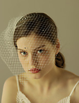 Wedding Veil One-tier Full Face Birdcage Veil Blusher Veils Short Veil Retro Veil Cut Edge Tulle Intersperse Rhinestone New Sale
