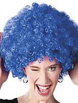 Perruque Synthétique Sans bonnet Mi Longue Frisés Bleu Perruque afro-américaine Pour Cheveux Africains Perruque de Cosplay Perruque