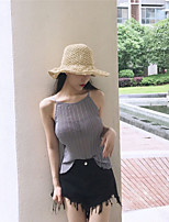 Women's Casual/Daily Sexy Tank Top,Solid Round Neck Sleeveless Cotton Polyester